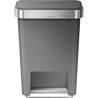 simplehuman® Rectangular Step Trash Can with Liner Pocket, Gray, 12 Gallon