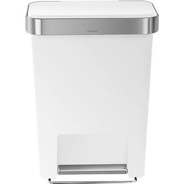 simplehumanMD – Poubelle à pédale rectangulaire avec réserve à sacs, blanc, 12 gallons