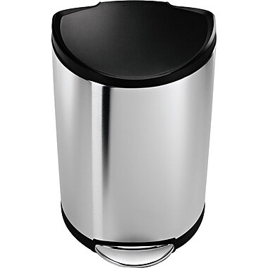 simplehuman® Semi-Round Step Trash Can, Stainless Steel w/ Black Plastic Lid, 10 Gallon