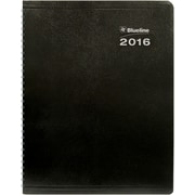 "Blueline® 2016 DuraGlobe® Soft Cover Weekly Planner, Sugarcane Paper, Jan.- Dec., Black, 11"" x 8-1/2"" (C225.21T)"