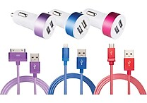 Apple Certified or Micro USB Sync & Charge Braided Cable With Dual Output Car Adapter (1A + 2.1A), Assorted Colors