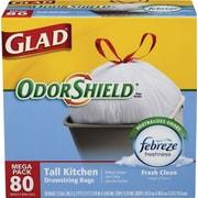 Glad® OdorShield® Tall Kitchen Drawstring Trash Bags, Fresh Clean, 13 Gallon, 80 Bags/Box, 4 Box/Carton