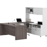 Pro-Linea U-Desk with hutch in White & Bark Grey
