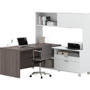 Pro-Linea L-Desk with hutch  White & Bark Grey