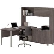 Pro-Linea L-Desk with hutch in Bark Grey