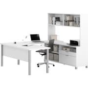 Pro Linea U Desk with hutch in White