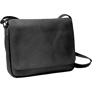 Royce Leather Shoulder Bag with Flap, Black, Silver Foil Stamping, 3 Initials