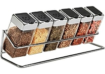 Spice Rack with 6 Glass Jars