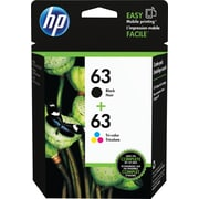 HP 63 Black/Color Ink Cartridges, LOR46AN#140, 2/Pack