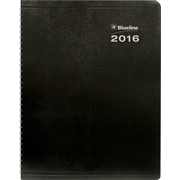 "Blueline® 2016 DuraGlobe™ Soft  Monthly Planner, Sugarcane Paper,  Dec. 2015 - Jan. 2017, Black,  11"" x 8-1/2"""