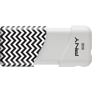 PNY 8GB Chevron USB 2.0 Flash Drive,  Black and White