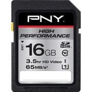 PNY 16GB High Performance SDHC CL10 65MB/s UHS-1/U1 Flash Memory Card