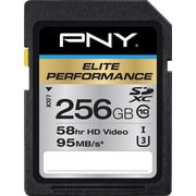 PNY  Elite Performance 256GB High Speed SDXC Class 10 UHS-I, U3 Up to 95MB/sec Flash Memory Card