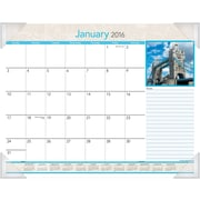 "2016 AT-A-GLANCE® European Destinations Monthly Desk Pad Calendar, Design (DMD169-32), 22"" x 17"""