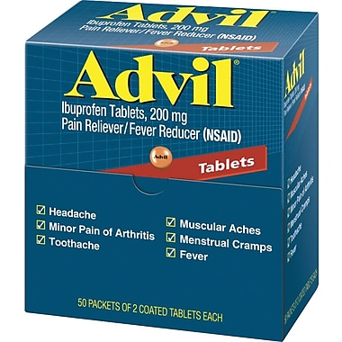 Advil Pain Relief Coated Tablets, 200 mg, 50 Count/Box, Packs of 2 Coated Tablets (015489)