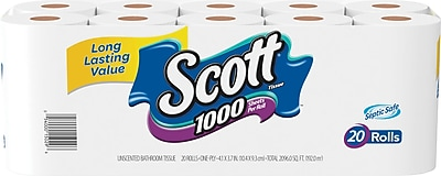 Scott 1000 Bath Tissue Rolls 20 Rolls Case 1 Ply 20032