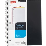 "Staples® 3 Subject Notebook, 8 1/2"" x 11"", College Ruled, 120 Sheets"