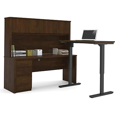 Bestar Prestige L Desk with Hutch including Electric