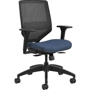 HON Solve Mid-Back Task Chair Black ilira-Stretch Mesh Back Adjustable Lumbar Frame Midnight Seat Fabric (HONSVMM1ALCO90)