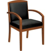 basyx by HON HVL853 Guest Chair Fixed Arms Wood Frame Bourbon Cherry Finish Black Leather(BSXVL853HSB11)