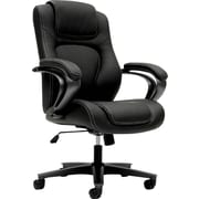 basyx by HON® BSXVL402SB11 VL402 Vinyl Executive High-Back Chair with Fixed Arms, Black