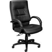 basyx by HON Executive High-Back Chair Center-Tilt Fixed Arms Black SofThread Leather(BSXVL691SB11)
