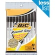 BIC Round Stic Ball Point Pen, Black Ink, Medium Point, 10/Pack