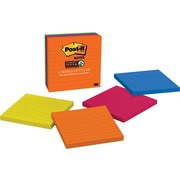 "Post-it(R) Super Sticky Notes, 4"" x 4"", Rio de Janeiro Collection, 4 Pads/Pk"