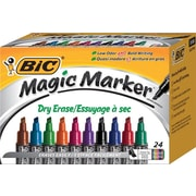 BIC® Magic Marker® Brand Dry Erase Marker, Tank, Chisel, Assorted, 24/Pk
