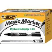 BIC® Magic Marker® Brand Dry Erase Marker, Tank, Chisel, Black, 24/Pk