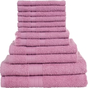 Lavish Home 12 Piece 100% Cotton Towel Set - Rose