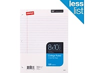 Staples&reg College Ruled Filler Paper, 8' x 10-1/2', 120/Pack (37427M)