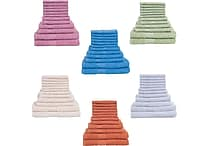 Lavish Home 12 Piece 100% Cotton Towel Sets, Assorted Colors
