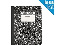 Staples® Composition Notebook, Wide Ruled, Black, 9-3/4' x 7-1/2'