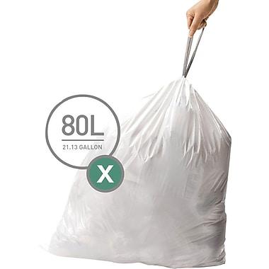 simplehuman® Custom Fit Trash Bags, Code X, 21 Gallon, 200 Bags/Box