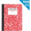 "Staples® Composition Notebook, Wide Ruled, Red, 9-3/4"" x 7-1/2"""