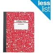 "Staples® Composition Notebook, College Ruled, Red, 9-3/4"" x 7-1/2"""