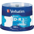 Verbatim CD-R 700MB 52X White Inkjet Printable, Hub Printable - 50pk Spindle
