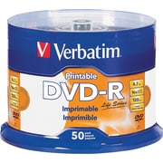 Verbatim DVD-R 4.7GB 16X LifeSeries White Inkjet Printable, Hub Printable - 50pk Spindle