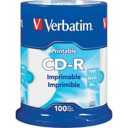 Verbatim CD-R 700MB 52X White Inkjet Printable, Hub Printable - 100pk Spindle