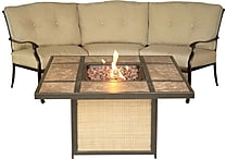 Hanover Outdoor Furniture Traditions 2 Piece Fire Pit Set - Tiled Fire Pit & Sofa