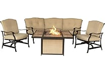 Hanover Outdoor Furniture Traditions 4 Piece Fire Pit Set - Tiled Fire Pit, Sofa & 2 Rockers