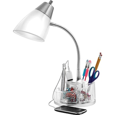 organizer desk lamp with power outlet staples. Black Bedroom Furniture Sets. Home Design Ideas