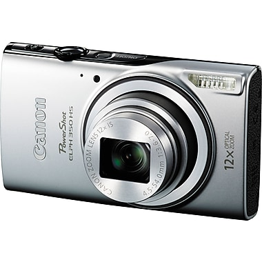 Canon PowerShot Elph 350 HS Digital Camera, 20.2 MP, 12x Optical Zoom, Silver