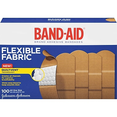 BAND-AID® Brand Flexible Fabric Adhesive Bandages, 100 Count/Box (Model:4444)