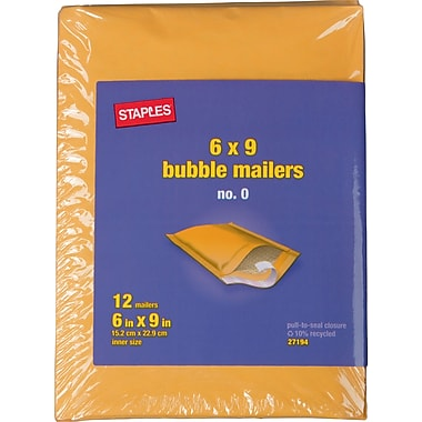 Staples® #0 Bubble Mailer, Gold Kraft, 6
