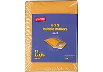 Staples® #0 Bubble Mailer, Gold Kraft, 6'x9', 12/Pack (27194)