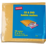 "Staples CD Bubble Mailer, Gold Kraft, Peel and Seal Strip, 7 1/4"" x 7 1/4"", Mailer, 12/Pack (27209-US/CC)"