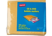 Staples CD Bubble Mailer, Gold Kraft, Peel and Seal Strip, 7 1/4' x 7 1/4', Mailer, 12/Pack (27209-US/CC)