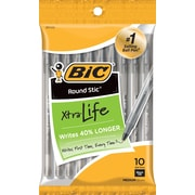 BIC Round Stic Ballpoint Pen, Black Ink, Medium Point, 10/Pack